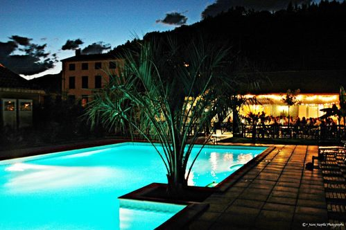 LA TAILLADE DE MONTSEGUR locations vacances Sud France : photo de la piscine de nuit